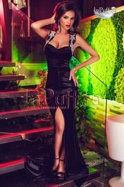 rochie catifea neagra lunga