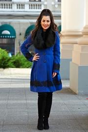 palton dama iarna albastru
