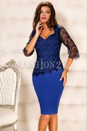 rochii office albastre ieftine